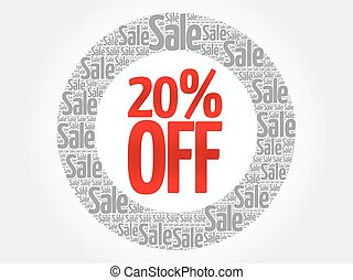 20% OFF words cloud, business concept background