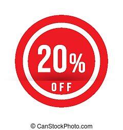 20, offerta, francobollo, percento, segno., -, vendita, illustrazione, vettore, rosso, spento, speciale