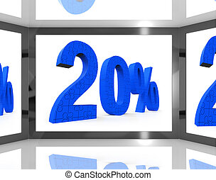 20 On Screen Showing Twenty Percent Off And Price Deals