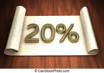 20 per cent, golden numbers, over open paper, 3d rendering