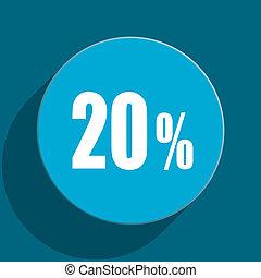 20 percent blue flat web icon