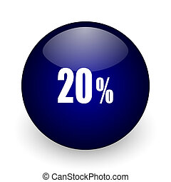 20 percent blue glossy ball web icon on white background. Round 3d render button.