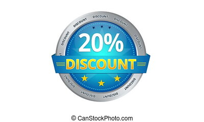 Blue Animated 20 percent discount icon