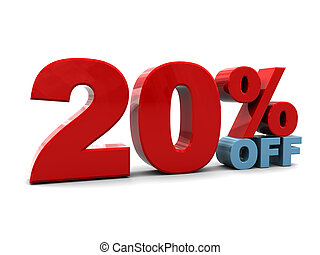 20 percent discount - 3d illustration of 20 percent discount...