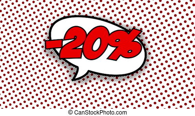 20 percent discount text in speech balloon in comic style...