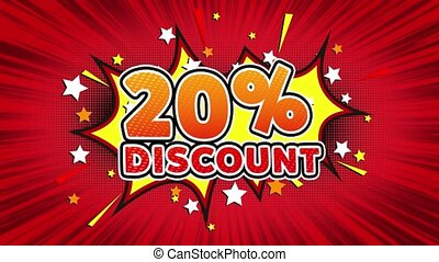 20% Percent Discount Text Pop Art Style Comic Expression. -...