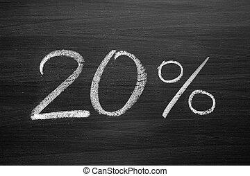 20-percent header written with a chalk on the blackboard