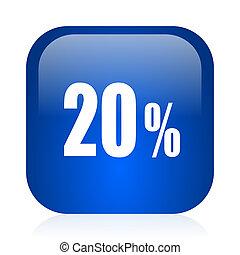 20 percent icon - blue glossy computer icon