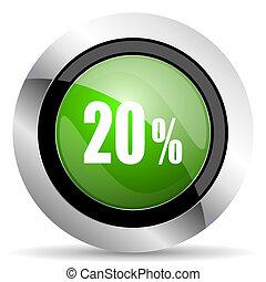 20 percent icon, green button, sale sign
