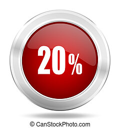 20 percent icon, red round glossy metallic button, web and mobile app design illustration