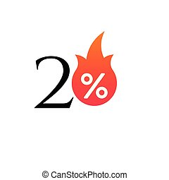 20 percent off with the flame, burning sticker, label or icon. Hot Sale flame and percent sign label, sticker. special offer, big sale, discount percent off. Vector illustration isolated on white background