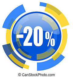 20 percent sale retail blue yellow glossy web icon