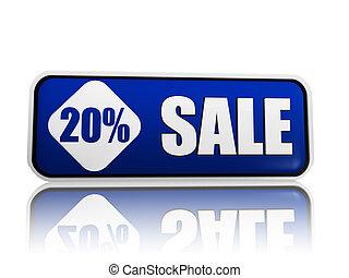 20 percentage off sale blue banner