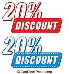20 percentages discount in two colors labels, flat design