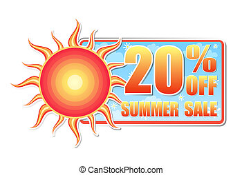 20 percentages off summer sale in label with sun