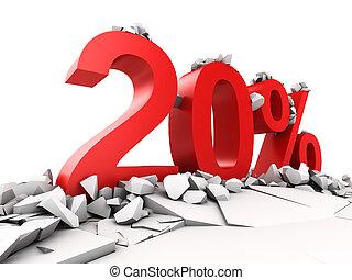 20, percento, scontare