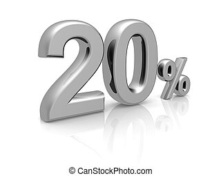 20 percents discount symbol with reflection isolated white background