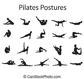 20, pilates, o, yoga, posturas, posiciones, ilustración