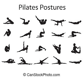 20, pilates, oder, joga, haltungen, positionen, abbildung