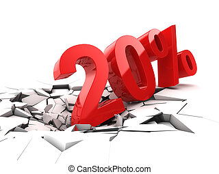 20, procent, korting