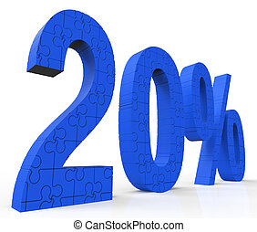 20 Puzzle Shows Twenty Percent Reduction And Clearance - 20%...