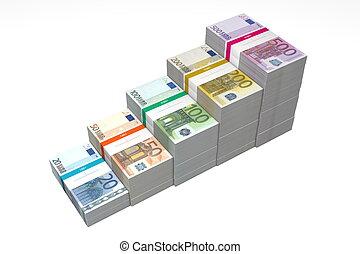 20, -, rampe, billets banque, étapes, euro, 500, plus haut