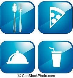 2.0, restaurante, ícones, teia