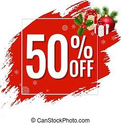 20% Sale Red Blobs Banner Transparent Background