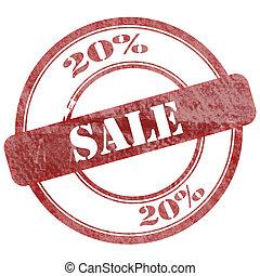 20% Sales Red Grunge Seal Stamp