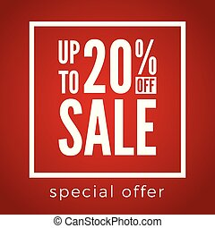 20, scontare, offerta, percento, vendita, fondo., rosso, spento, speciale