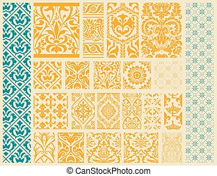 20, seamless, patrones, plano de fondo, colección, -, para, diseño, y, álbum de recortes, -, en, vector