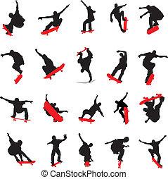 20, skateboarders, silhouette