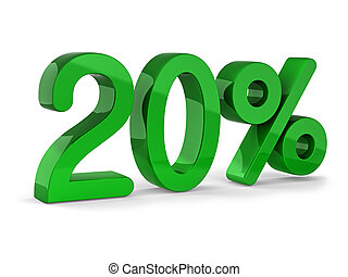 20% - 20 percent sign of sale