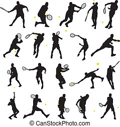 20 detail tennis poses in silhouette