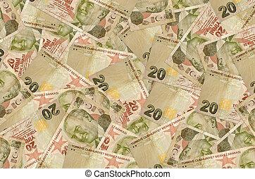20 Turkish liras bills lies in big pile. Rich life conceptual background. Big amount of money