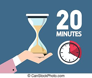 20 Twenty Minutes Clock Symbol with Hourglass in Hand