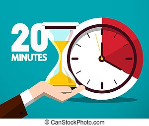 20 Twenty Minutes Time Symbol. Vector Time Countdown Icon with Clock and Hourglass in Human Hand.