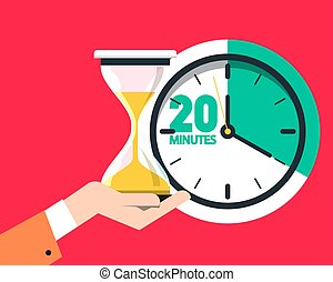 20 Twenty Minutes Timer. Sand Clock - Hourglass Vector Flat Design Icon.
