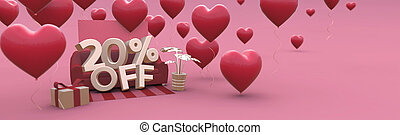 20 Twenty percent off - Valentines Day Sale horizontal 3D-banner with copy space.