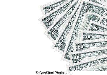 20 US dollars bills lies isolated on white background with copy space. Rich life conceptual background