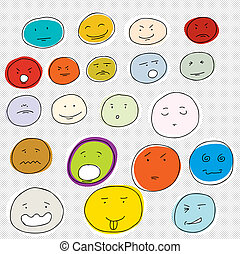 Set of various facial expressions on dot background