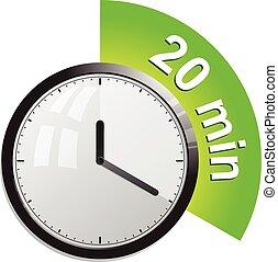 20, vektor, minuten, zeitgeber, abbildung