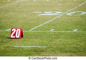 20, vinte, campo futebol americano, marcador, linha terreno
