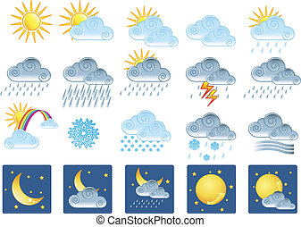 20 weather icons - Vector illustration of 20 weather icons
