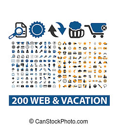 20 web & vacation icons set, vector