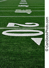 20 Yard Line on American Football Field, Copy Space,...