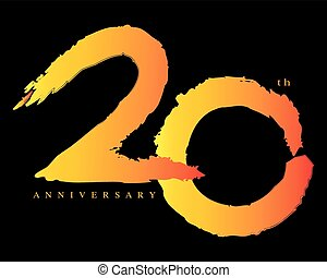20 years anniversary, brush stroke concept vector