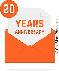 20 years anniversary icon in orange letter