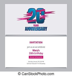 20 years anniversary invitation to celebration vector illustration