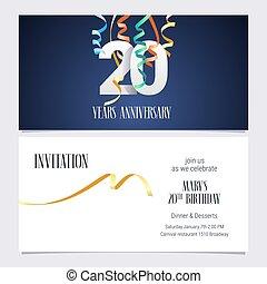 20 years anniversary invitation vector